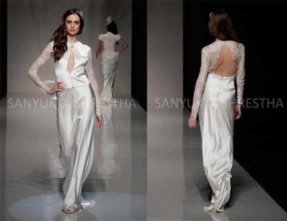 Long sleeve white silk dress fashion dresses for Long silk wedding dress