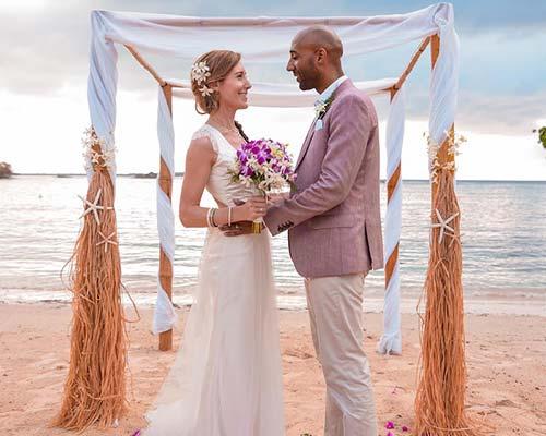 Romantic intimate Wedding on a Hidden Beach in Jamaica